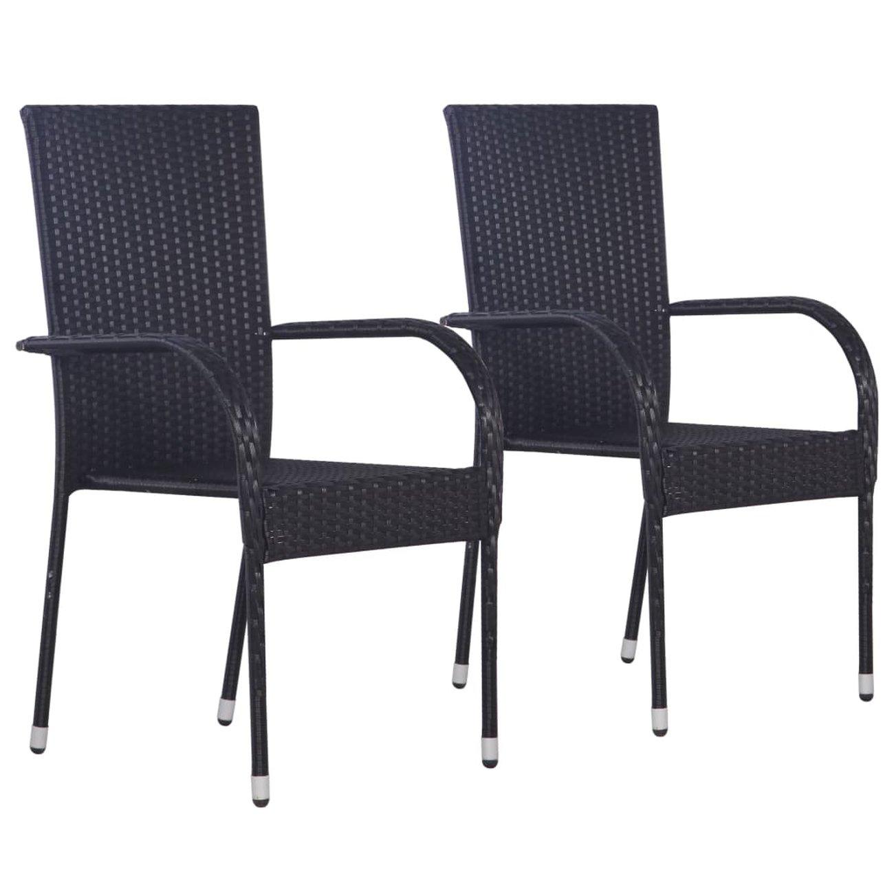 vidaxl chaises empilables dexterieur 2 pcs resine tressee noir 1 v2