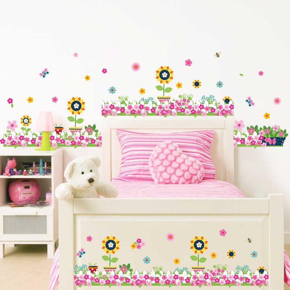 Coloré fleurs papillon abeille stickers muraux pour enfants chambres salon plinthe décoration diy murale végétale décalques