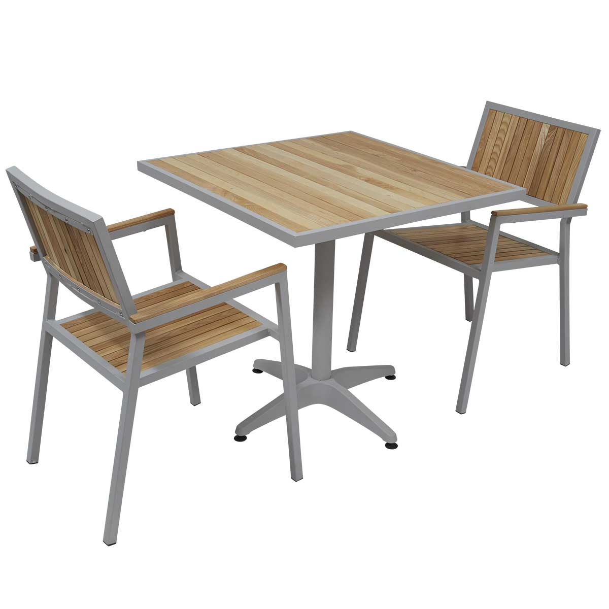 table de jardin carree et 2 chaises en alu et bois