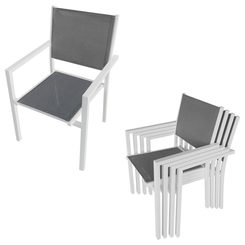 salon de jardin bergamo en textilene gris 6 places aluminium blanc