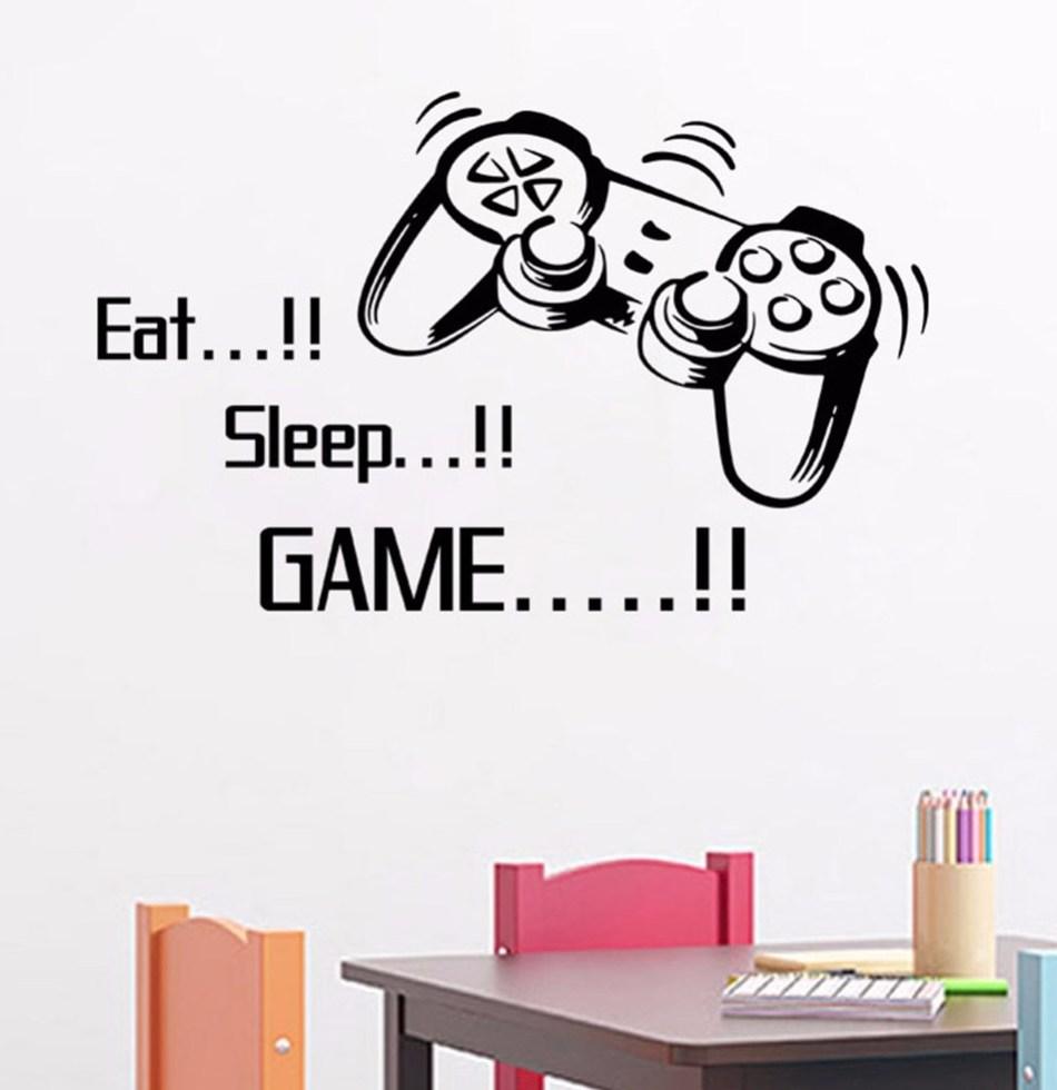 Творческий съесть сна игры стены винила Арт Наклейки геймер XBOX 3 Обувь для мальчиков Спальня письмо