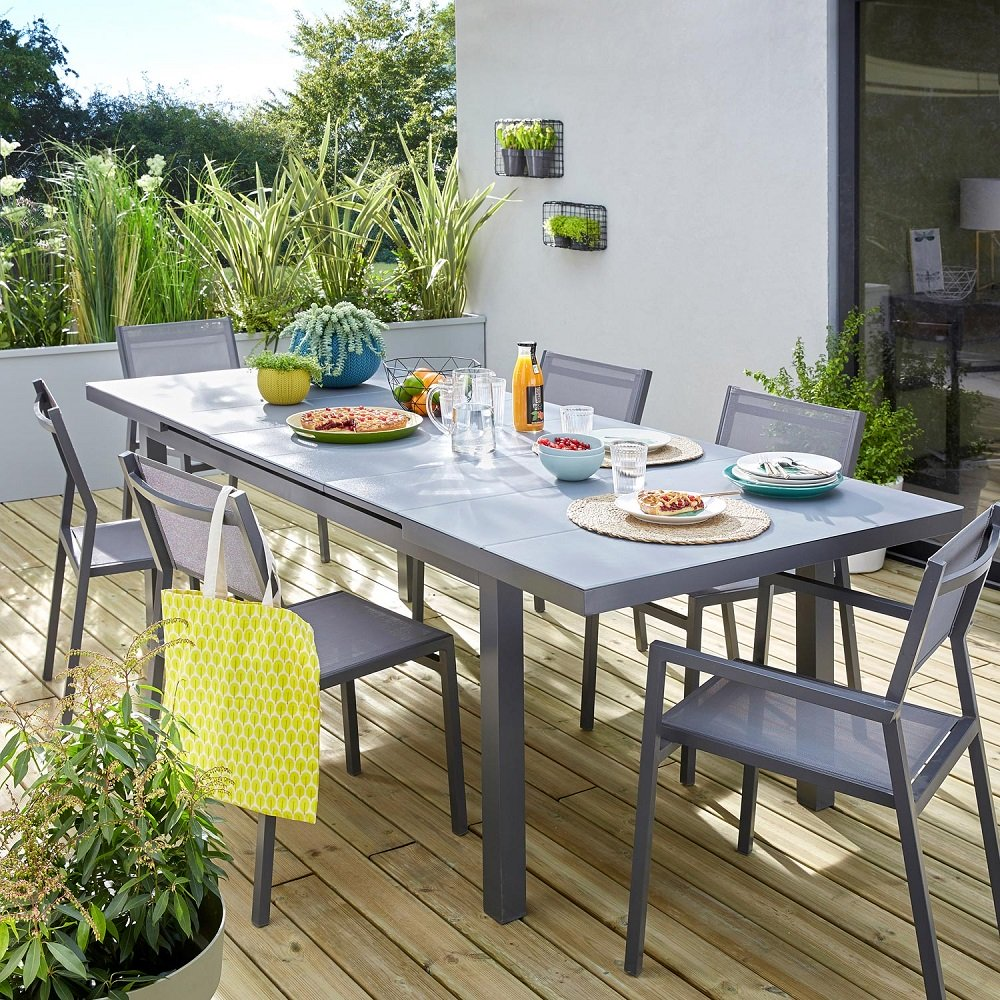 table de jardin naterial niagara 5 lames rectangulaire gris 6 8 personnes
