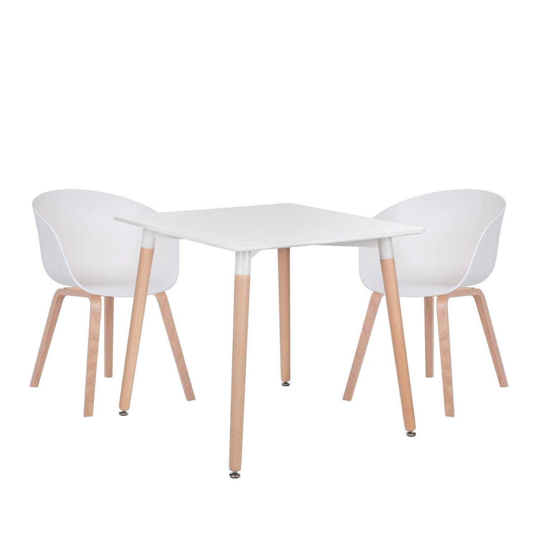 lot de table royal 80x80 2 chaises yah bois