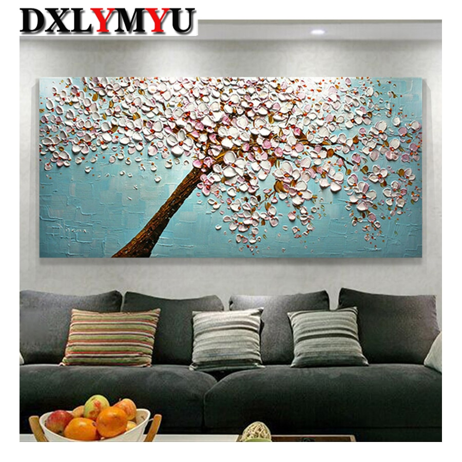 Full 5D diamond painting tree oil painting mosaic diamond embroidery cross stitch decoration living room