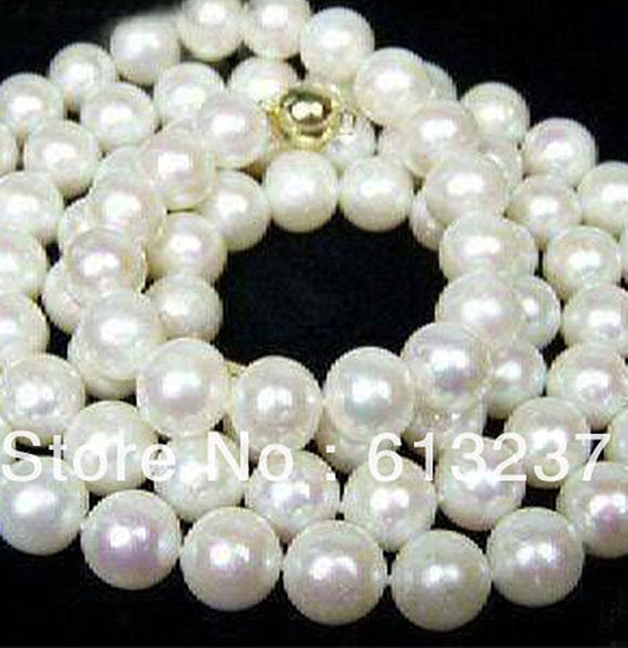 Belle style 8 9mm AA blanc akoya perle de culture de perles faire Collier 34 MY4584