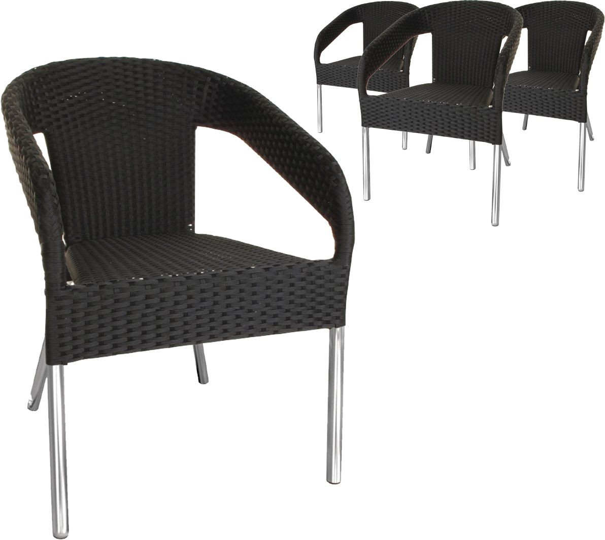 lot de 4 chaises de jardin en osier empilables coloris gris anthracite 30
