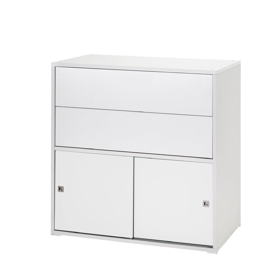 schardt mode 2 petites portes coulissantes 2 tiroirs clic blanc a