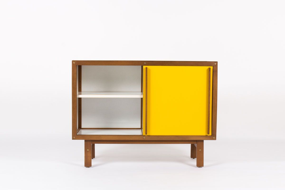meuble andre sornay en hetre teinte blanc porte laque jaune moutarde 1950 design francais vintage galerie44 2
