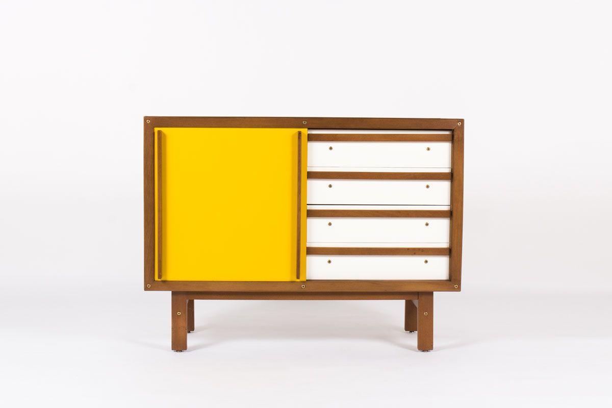 meuble andre sornay en hetre teinte blanc porte laque jaune moutarde 1950 design francais vintage galerie44 19
