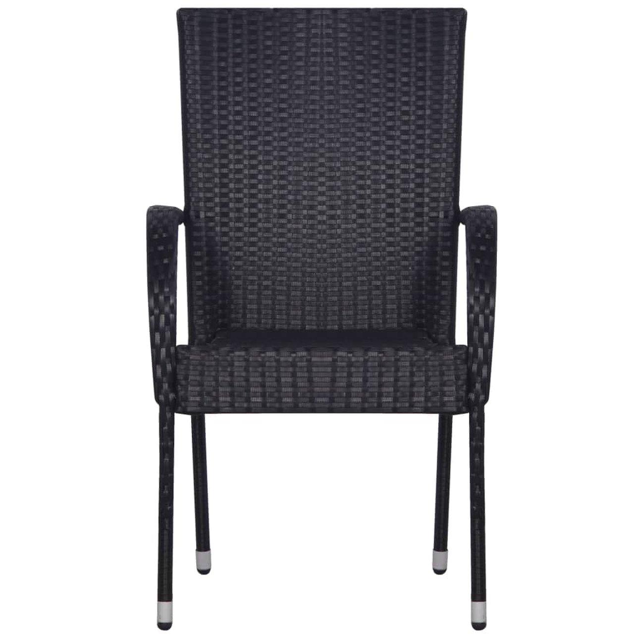vidaxl chaises empilables dexterieur 2 pcs resine tressee noir 3 v2