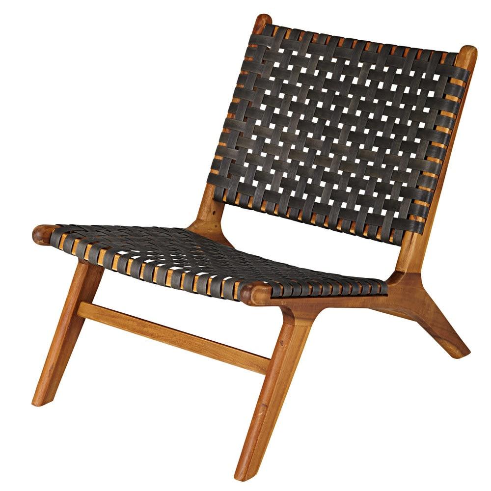 fauteuil de jardin en acacia massif et resine tressee coloris charbon 1000 15 29 1