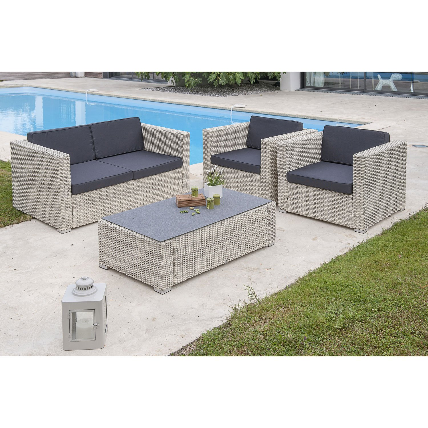 salon bas de jardin oceane salon resine tressee blanc table canape 2 fauteuils