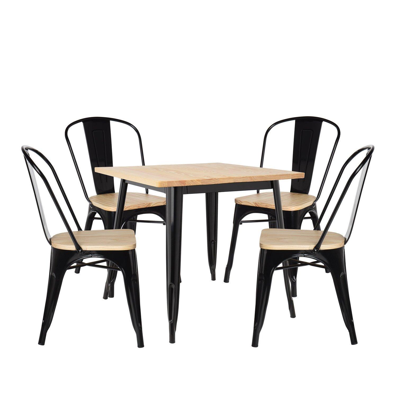 lot de table lix bois 80x80 4 chaises lix bois