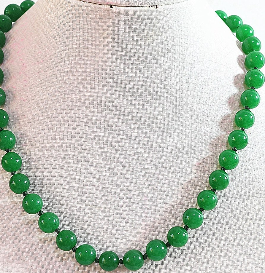 Nouveau mode naturel pierre vert jades calcédoine 6mm 8mm 10mm 12mm 14mm ronde perles diy collier