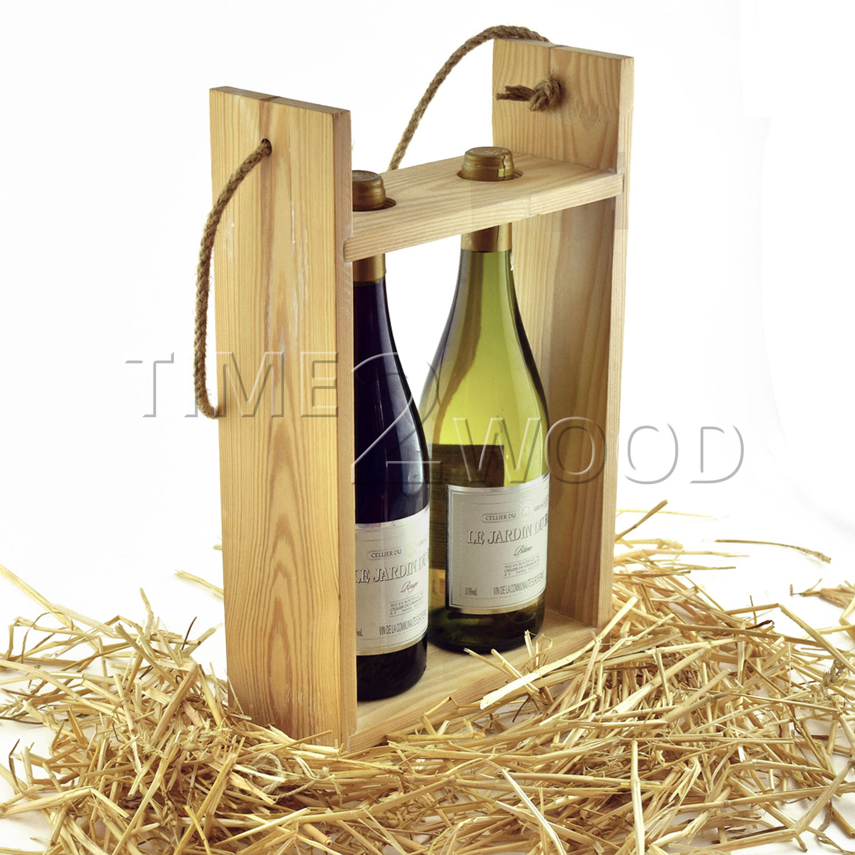 Derevyannaya Korobka Sumka time2wood dve butylki Wood Bag Box 1