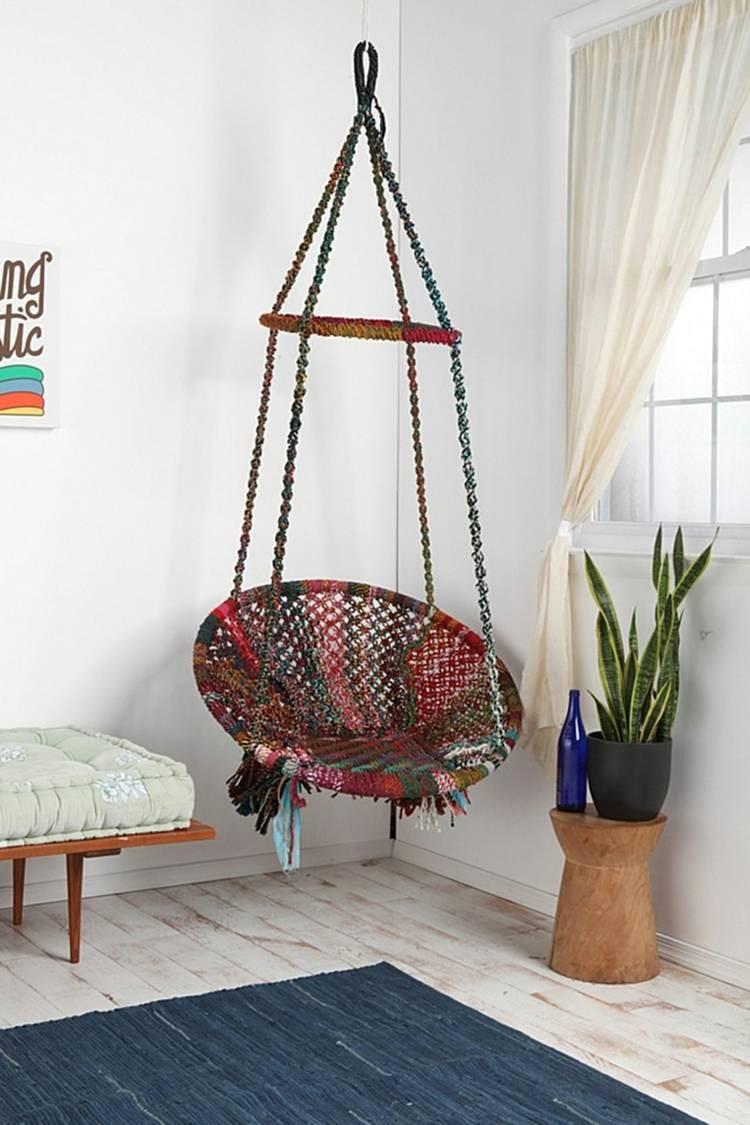 chaise suspendue interieur avec hamac et fauteuil suspendu id es ext rieur int idees tricot c3 a9e multicolore a9rieur 750x1125px all