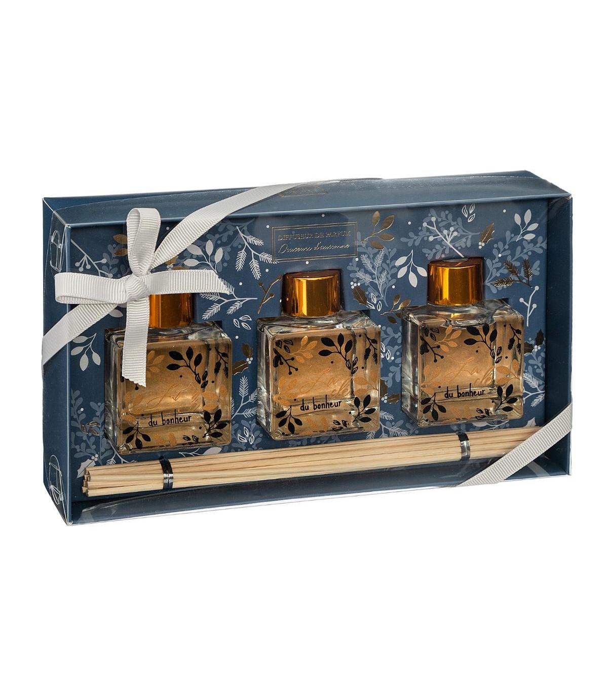 coffret senteur 3 diffuseurs de parfum avec batonnets