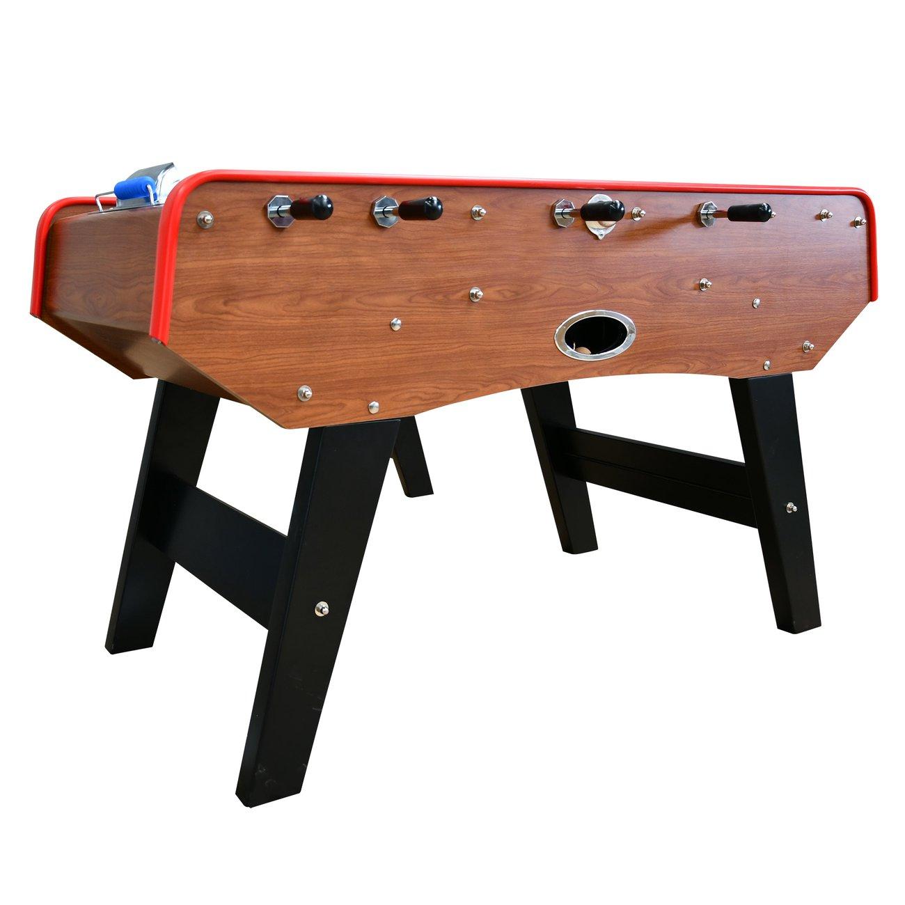 babyfoot classic type bistrot 151 x 77 x 91 cm table de baby foot avec barres telescopiques couleur bois chene et balles lieges inclus 2 v1