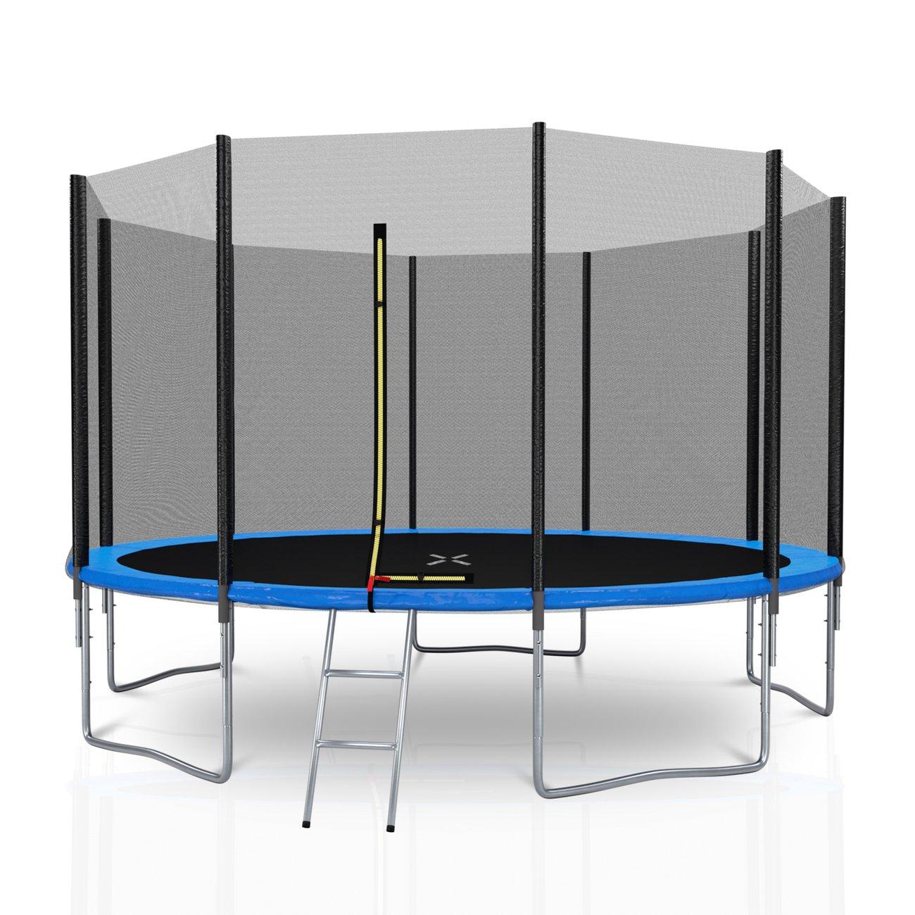 trampoline de jardin diametre 12ft 366 cm avec filet exterieur 10 perches couleur au choix bleu 1 v4