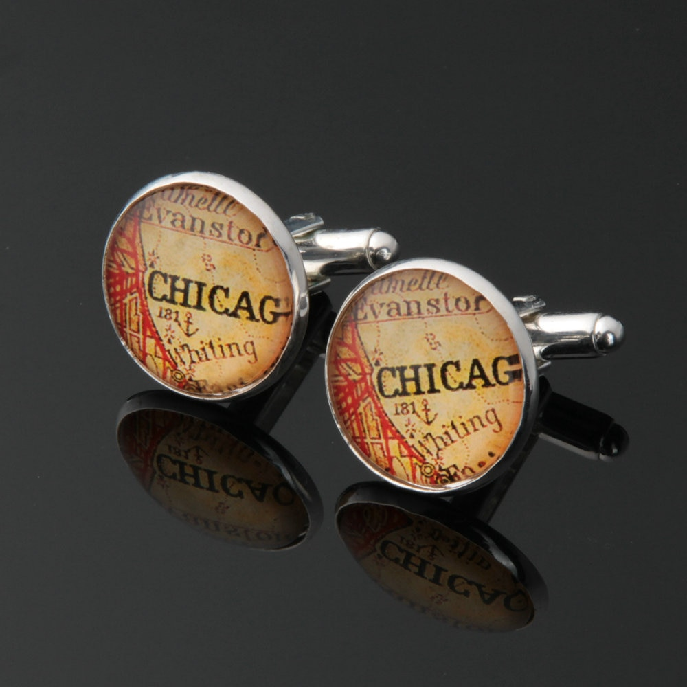1 pair World Map Cufflinks Silver plated Old World Map Cuff links for men and women