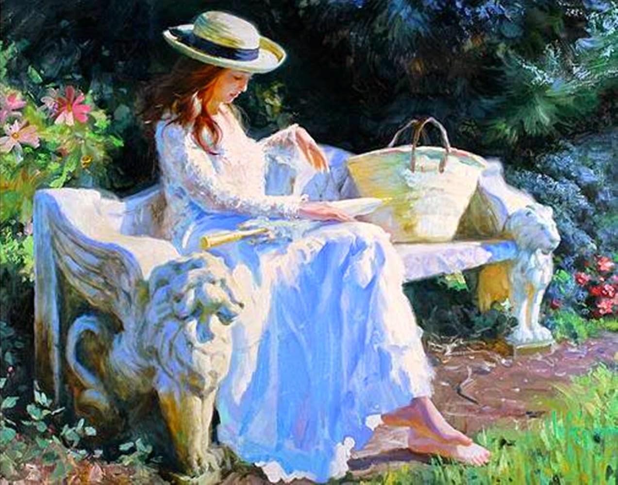 dama w ogrodzie