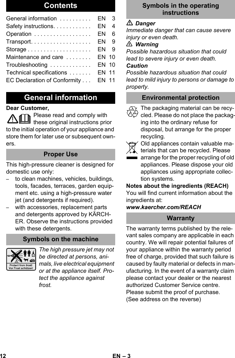 KarcherK3500Eu User Guide Page 12