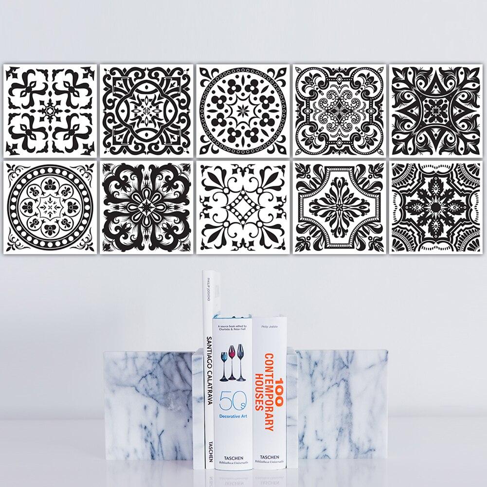 Noir et blanc r tro carreaux autocollants PVC salle de bain toilette tanche d coratif Stickers