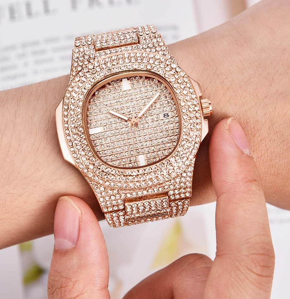Mens font b Watches b font Fashion Luxury Diamond Brand Date Quartz font b Watch b