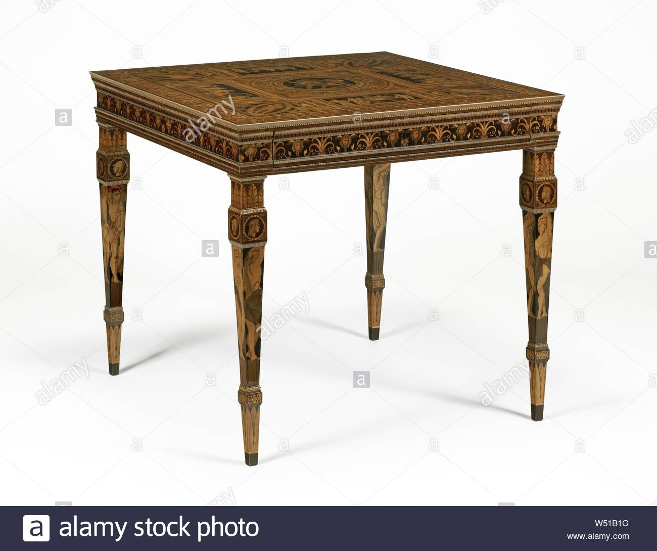 table francesco abbiati italian active about 1780 about 1800 mandello lake o lombardia italy 1790s oak walnut and poplar veneered with purplewood satinwood ebony and various fruitwoods 778 x 845 x 875 cm 30 58 x 33 14 x 34 716 in W51B1G