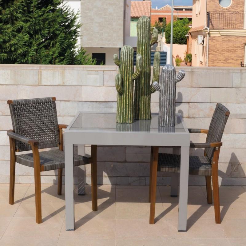 table de jardin extensible aluminium longueur 90 cm thalia gris