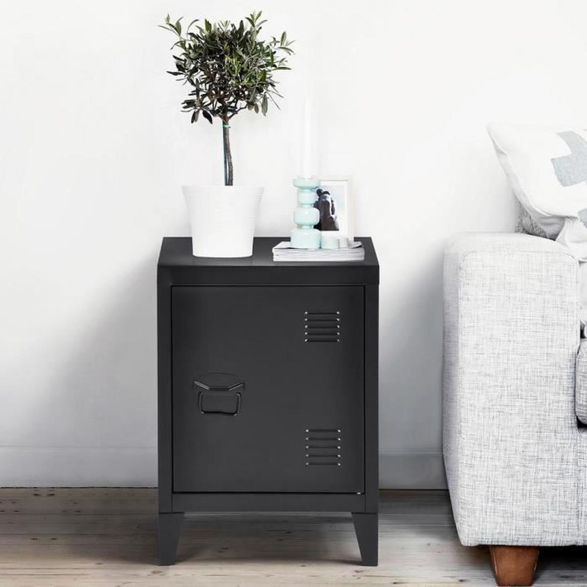 homy casa meuble bas caisson metal casier 1 porte