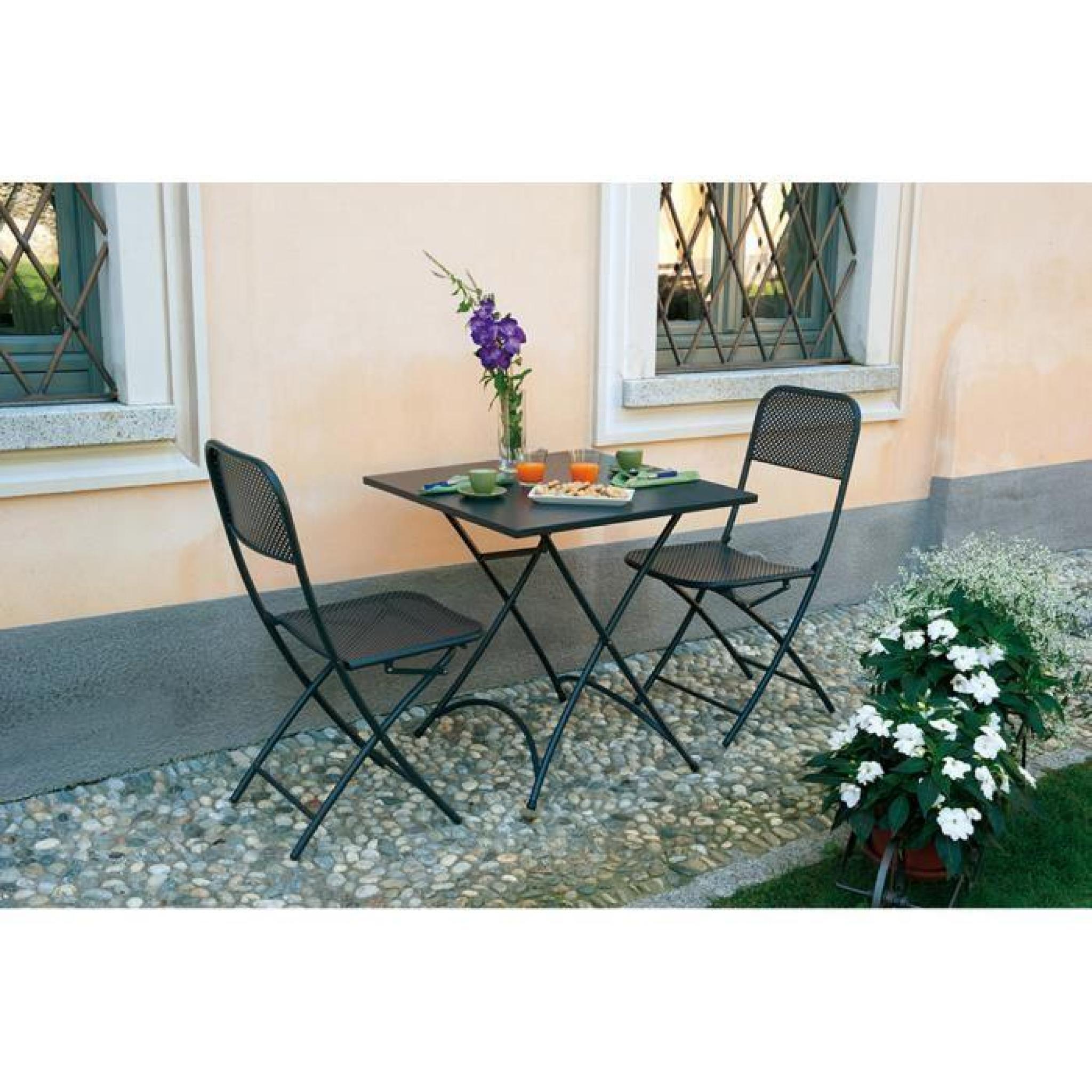 chaise pliante de jardin en fer forge coloris gris 2