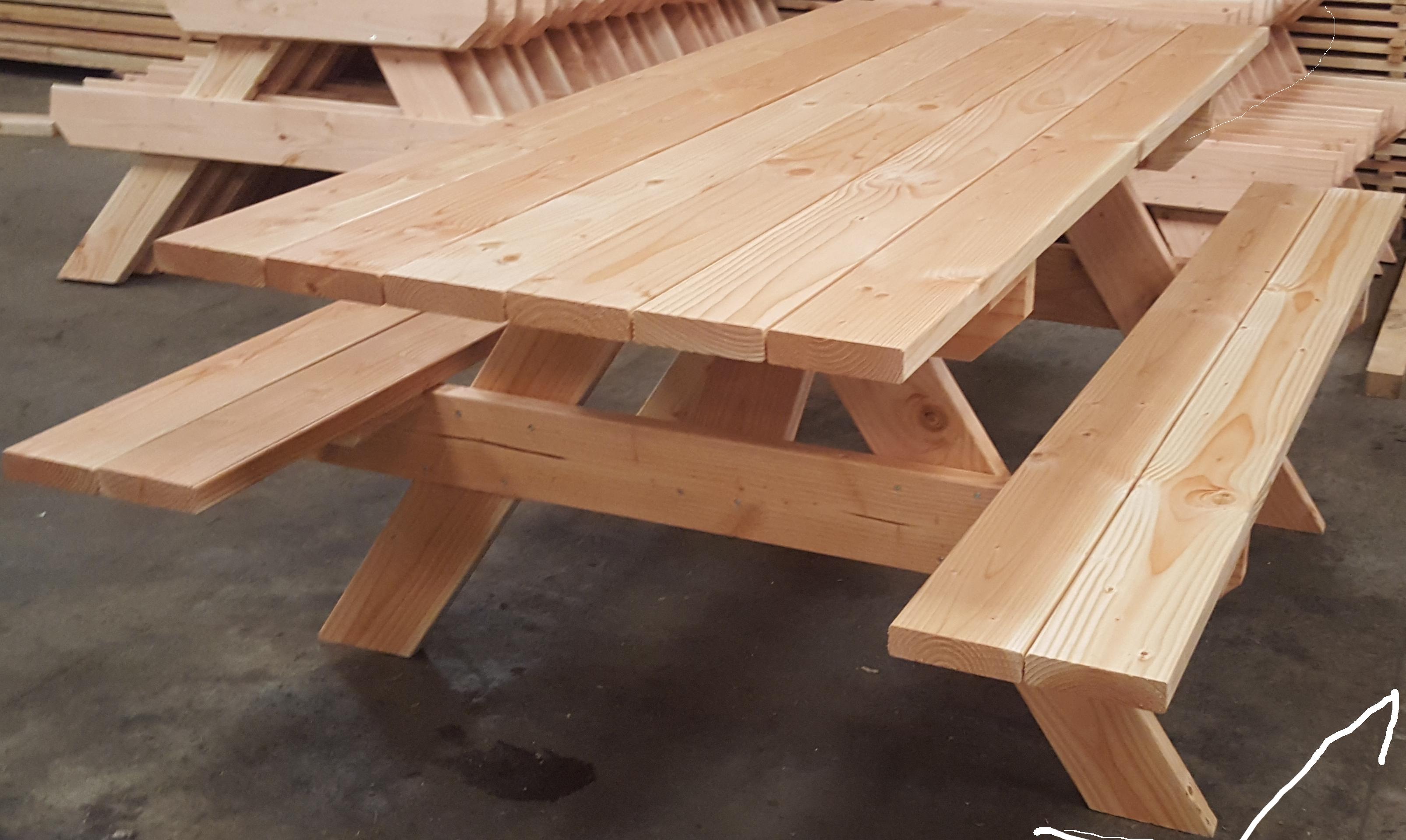 table banc de pique nique 6 personnes pmr douglas naturel 2m