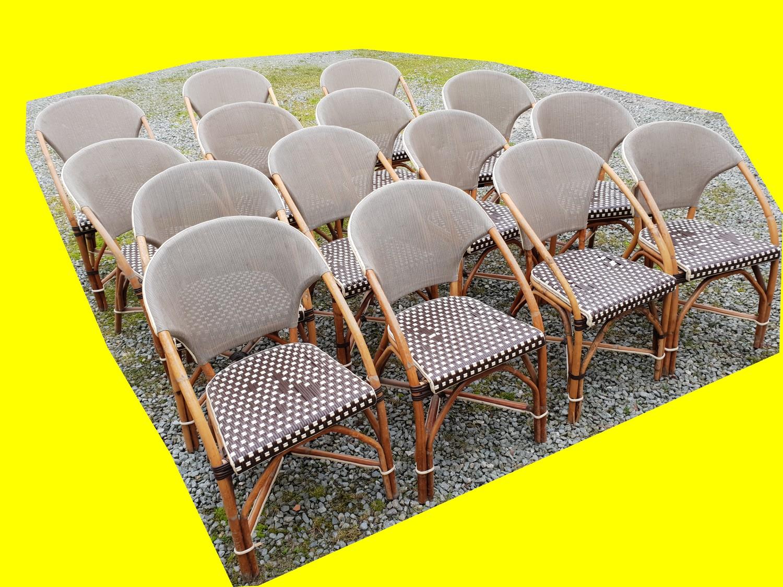 lot de 15 chaises de terrasse rotin exterieur interieur restaurant bistrot