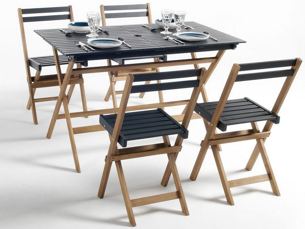 table et chaise de jardin en bois et noir pas cher la redoute