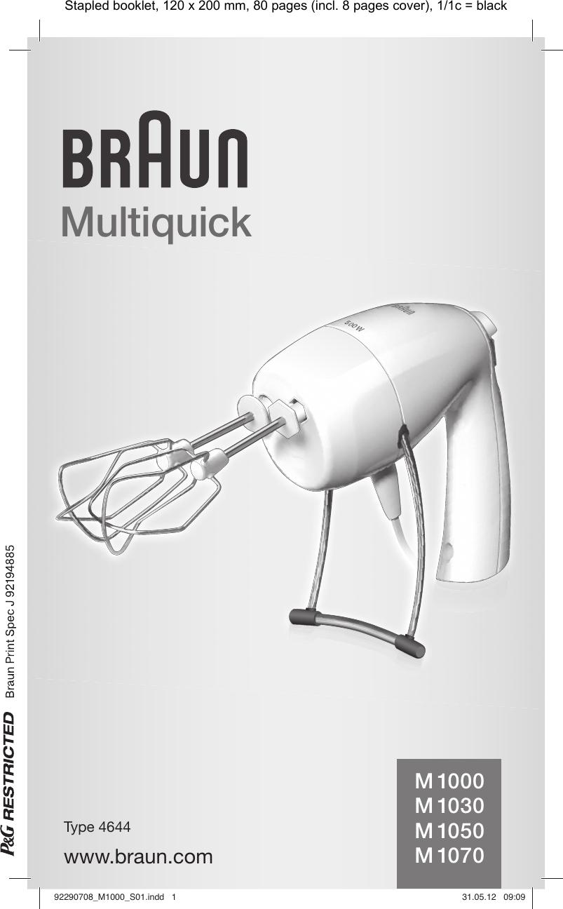 BraunMutiquickHandmixerM1000M1030M1050M1070OwnersManual User Guide Page 1