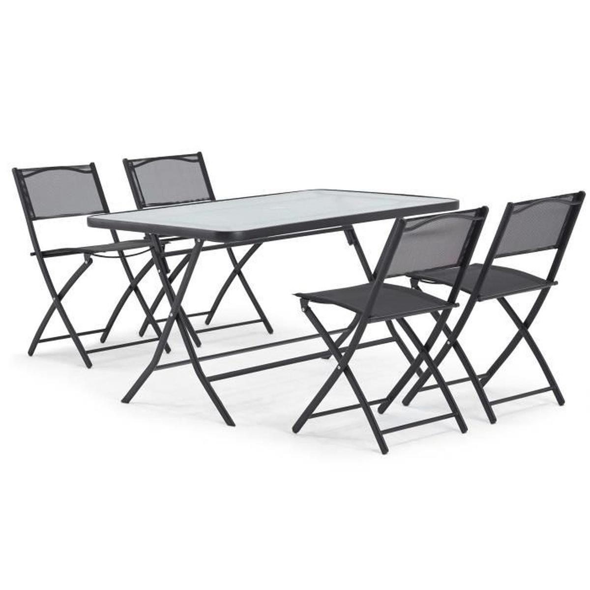 table de jardin en acier et verre et 4 chaises pli