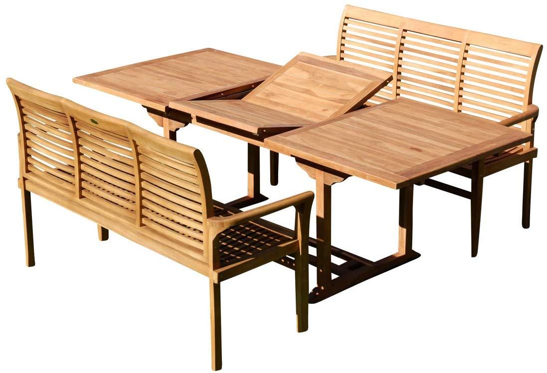 Teak Wood Extension Pliant Jardin Patio Extérieur Mobilier Bar Set Table Chaise