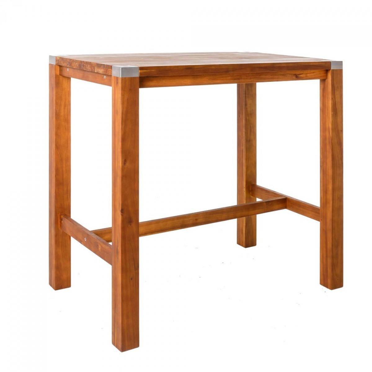 EFED8F0 table haute de jardin en acier et acacia