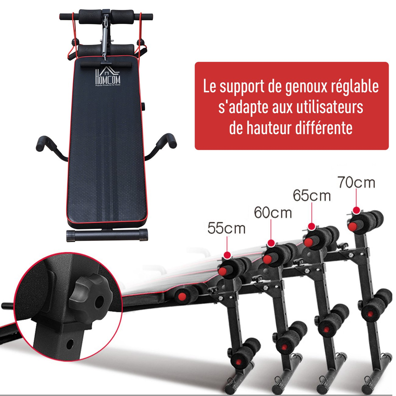 banc de musculation appareil a abdo hauteur reglable 135l x 57l x 50 68h cm 2 bandes de resistances ressort central traction acier noir rouge 5 v2