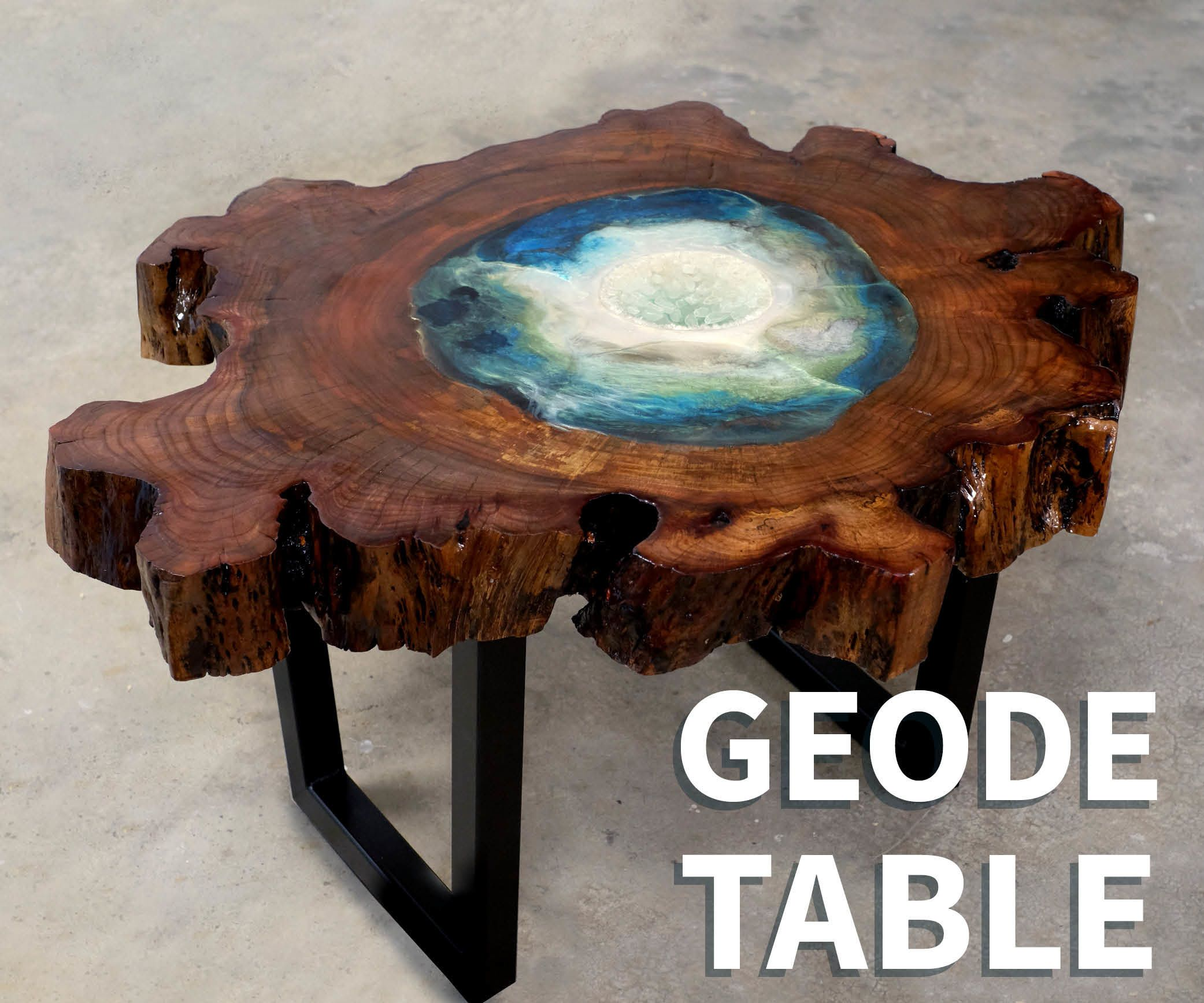 Table Resine Élégant Wood & Resin Geode Table