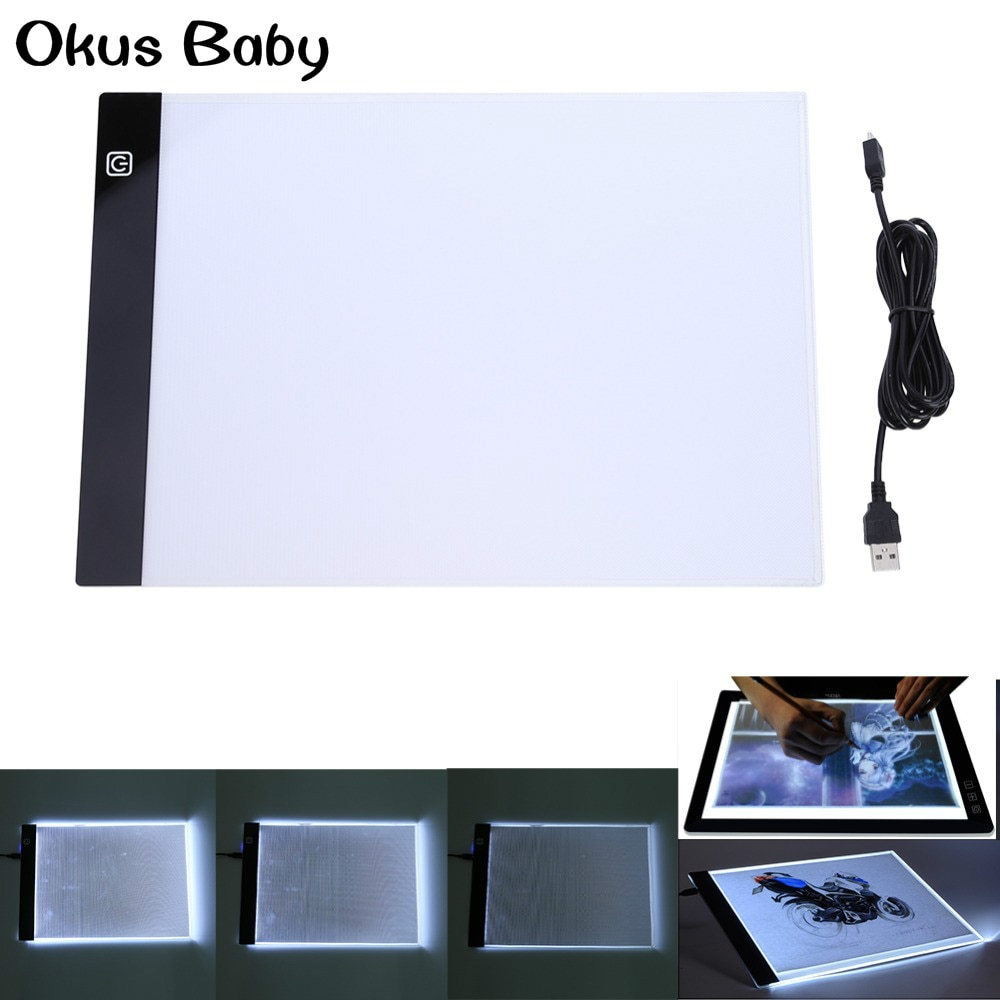 Newest A4 LED Sign Display Panel Artist Luminous Stencil Drawing Board Table Pad Digital Graphic Tablet