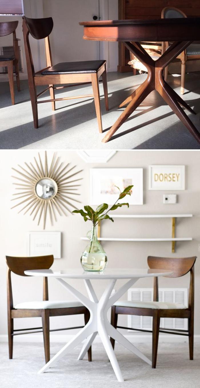 relooking salle à manger table ronde repeinte en blanc chaises relookées miroir soleil