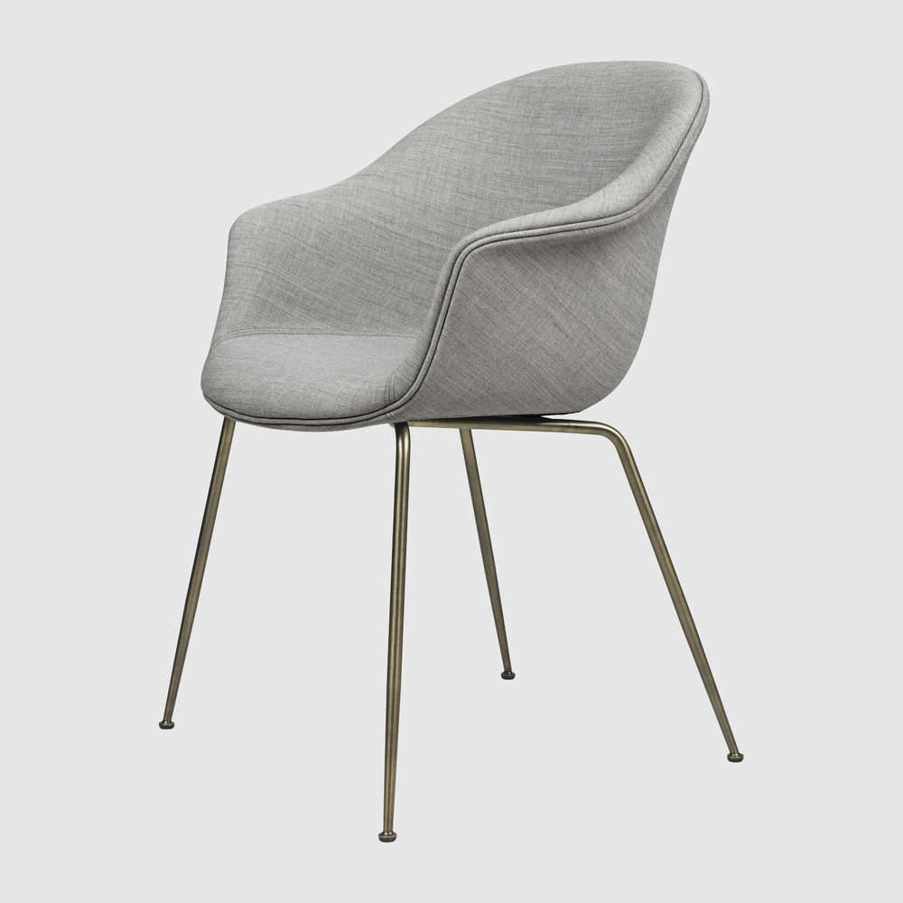 Bat DiningChair Conic FullyUpholstered AntiqueBrass Kvadrat Remix 123 F3Q