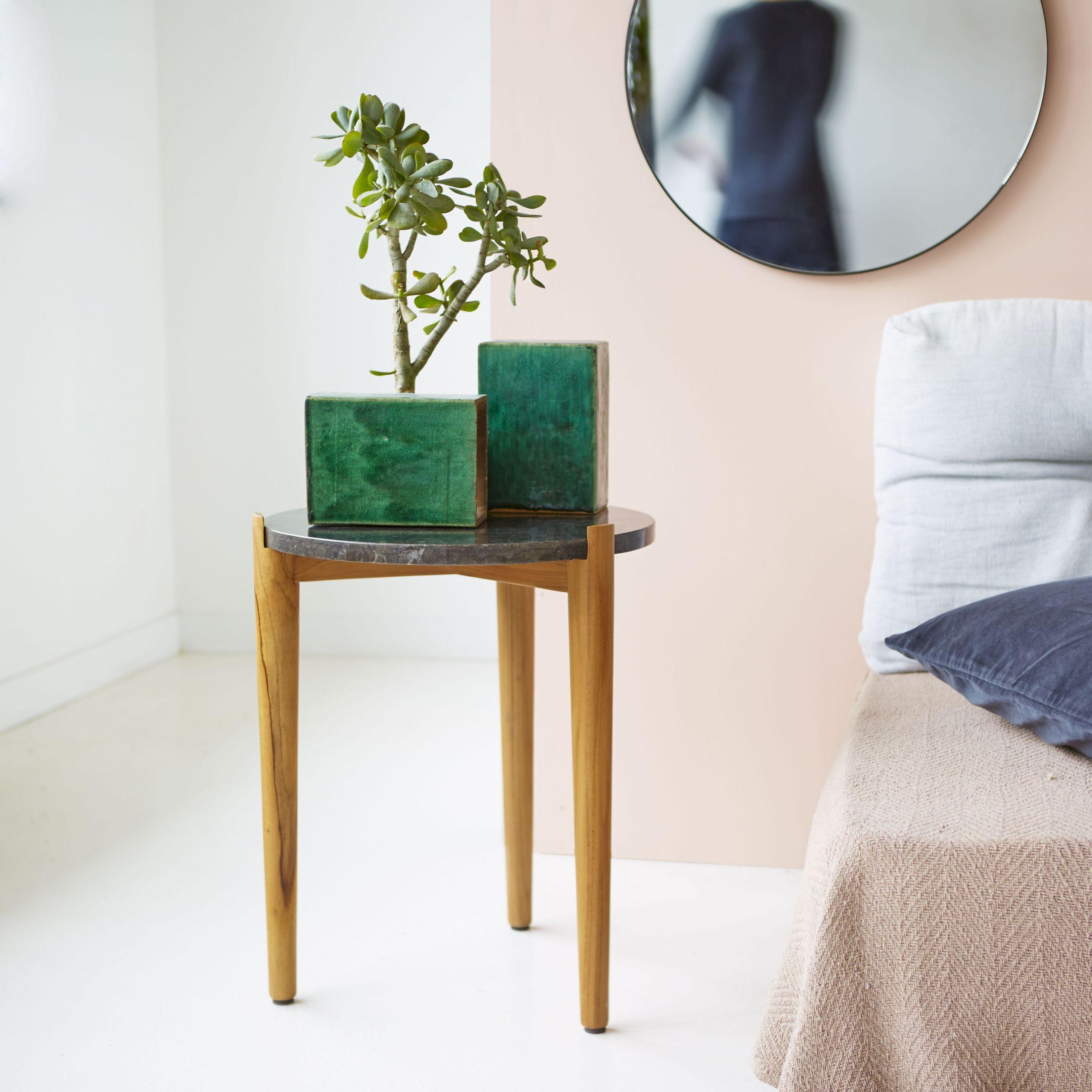 Table Teck Charmant Bout De Canapé En Teck Et Marbre 50 Cm Tables Pour Salon