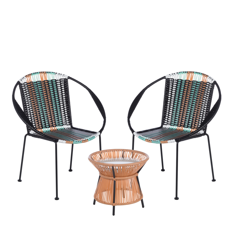 lot de 2 chaises pleik table phon