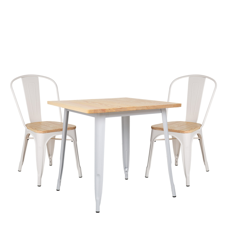 lot de table lix bois 80x80 2 chaises lix bois