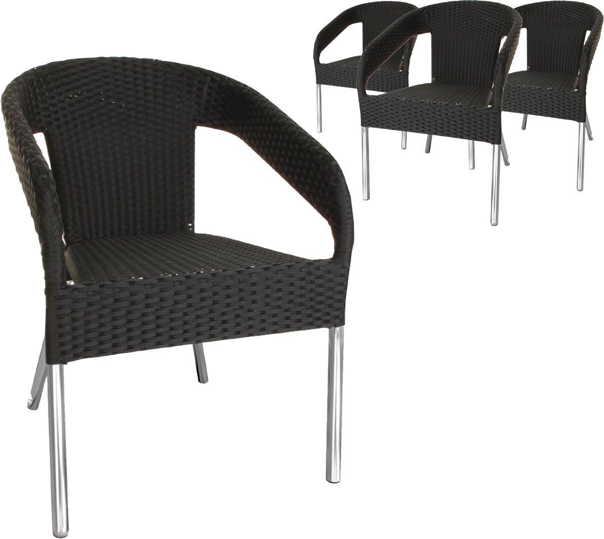 lot de 4 chaises de jardin en osier empilables coloris gris anthracite 30