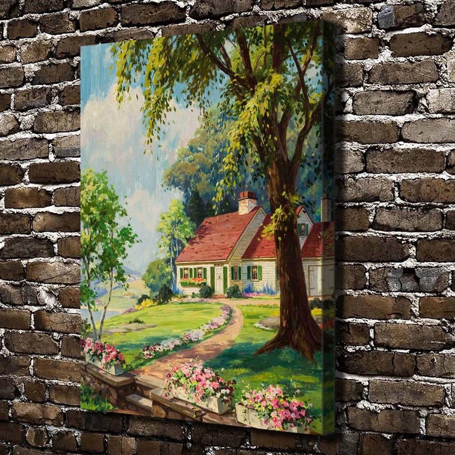 A1542 belle maison arbre jardin paysage HD toile impression d coration de la maison salon chambre