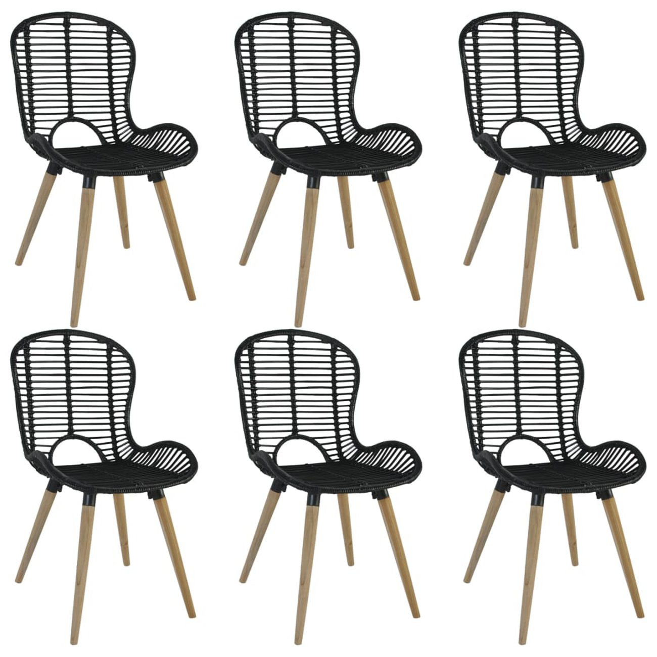 vidaxl chaises a diner dexterieur 6 pcs rotin 48 x 64 x 85 cm noir 1 v1